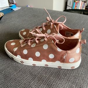 Toms Lace Up Rose Gold Foil Polka Dot Sneakers